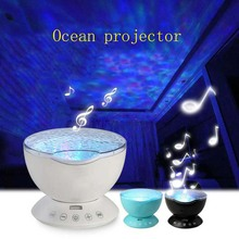 купить YB yiba  LED Night Light Starry Sky Remote Control Ocean Wave Projector with Mini Music Novelty baby lamp night lamp for kids онлайн