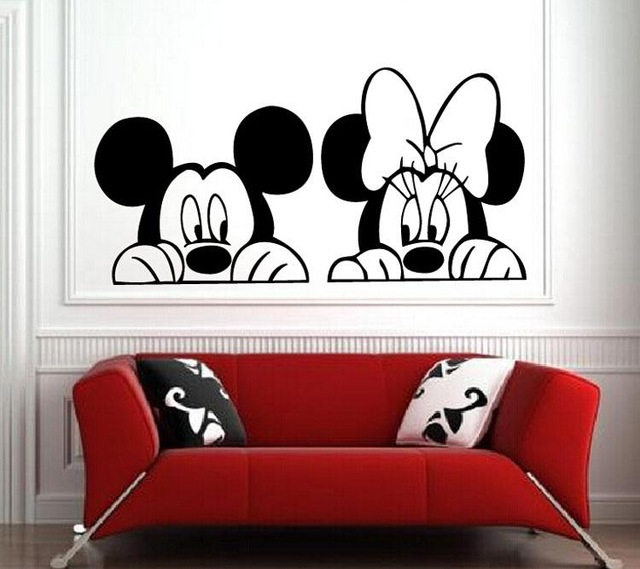 Cartoon Mickey Minnie Mouse Decorative Vinyl Children Kids Baby Room Decal Mural Wallpaper Wall Stickers Home Decor Art 40x80cm