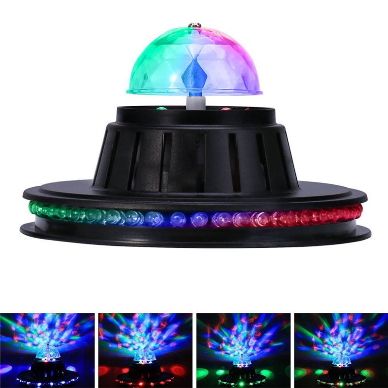 Tanbaby Mini UFO Stage Light Voice Control Multicolor Rotating LED Lamp Magic Ball For Disco Party Club Bar DJ Dancing EU/US