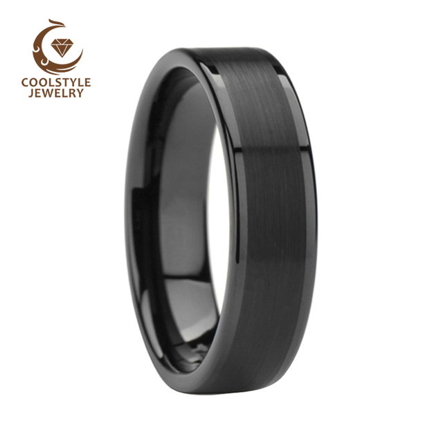 ecd02a8d189a5 US $11.99 |6mm Womens Mens Black Tungsten Carbide Rings Wedding Bands Pipe  Cut with Brushed & Polished Edges -in Wedding Bands from Jewelry & ...