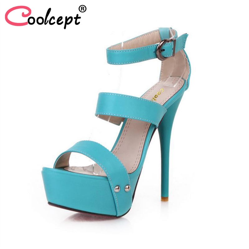 Coolcept women ankle strap stiletto leopard platform high heel sandals sexy ladies heeled footwear heels shoes size 34-43 P16785 coolcept women high heel sandals platform fashion lady dress sexy slippers heels shoes footwear p3795 eur size 34 43