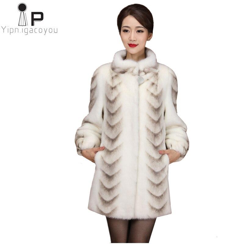 Di inverno Delle Donne Del Faux Cappotto di Pelliccia di Visone di Alta Qualità Sottile Bianco di Spessore Caldo Giacca Più Il Formato Delle Signore Cappotti Lungo La Pelliccia cappotti Cappotto 4XL