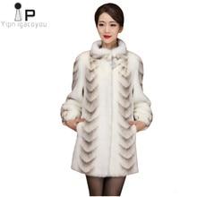 725a91773b5 Las mujeres de invierno abrigo de piel sintética de alta calidad visón Slim  blanco gruesa chaqueta caliente Plus tamaño damas la.