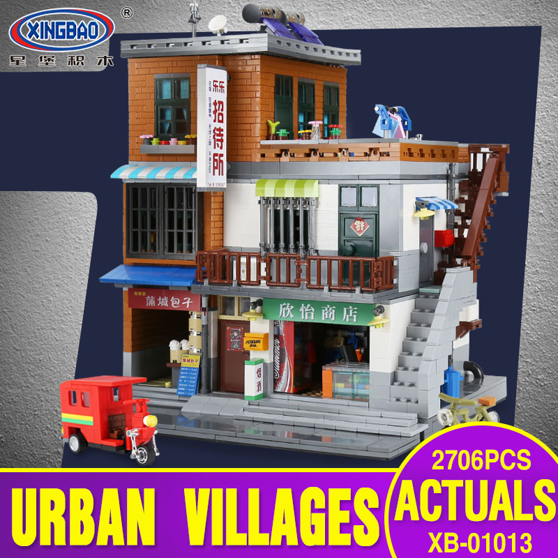 XingBao 01013 2706 pcs Genuine Creative MOC City Series The Urban Village Set Building Blocks Bricks Educational Toys Model Gift in stock xingbao 01013 2706 pcs genuine creative moc city series the urban village set building blocks bricks toys model gift