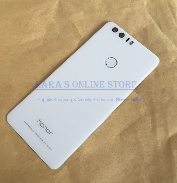 Original New for Huawei Honor 8 Rear Back Glass Cover Battery Door Housing W/ Fingerprint Sensor Flex Cable +Camera Lens Flash