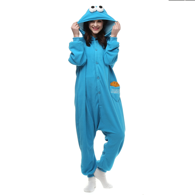 Adults-Polar-Fleece-Kigurumi-Cookie-Monster-Cosplay-Costume-Animal-Onesie-Pajamas-Halloween-Carnival-Masquerade-Party-Jumpsuit