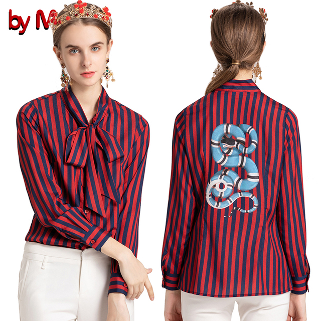 b5d73a5004df7 by Megyn women fashion shirts 2018 new striped snake print long sleeve  shirt blouses plus size women blouses feminine shirts