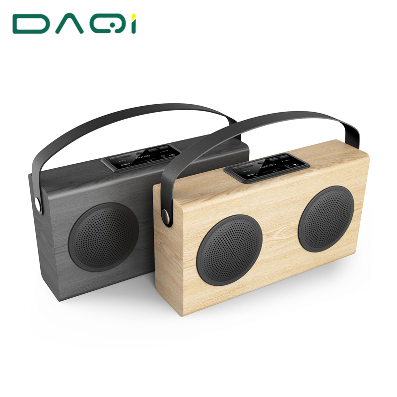 Retro Style Wireless Wooden Bluetooth Speaker Portable With Microphone Stereo Sound Music