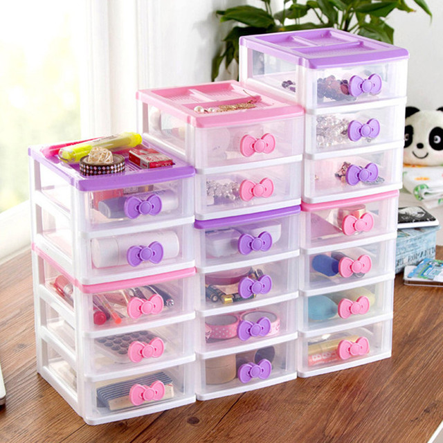 Home Furnishing Plastic Storage Box Drawer Jewelry Organizer 2 3 4