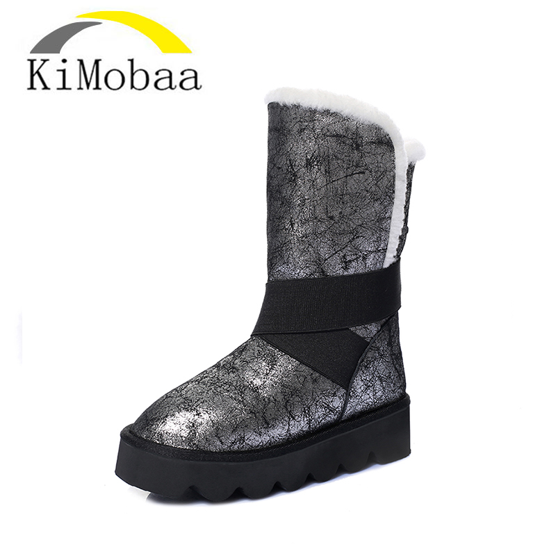 Kimobaa Free Shipping New Arrival 100% Wool Classic Mujer Botas Waterproof Genuine Cowhide Leather Snow Boots Winter Shoes TX155 free shipping top fashion new mujer botas 2016 winter women boots 100