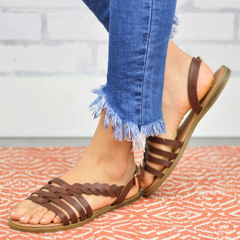 2019 New Vintage Cowhide Woven Sandals For Women Classic Casual Flat Lady Slipper Summer Fashion Female Outdoor Sandals