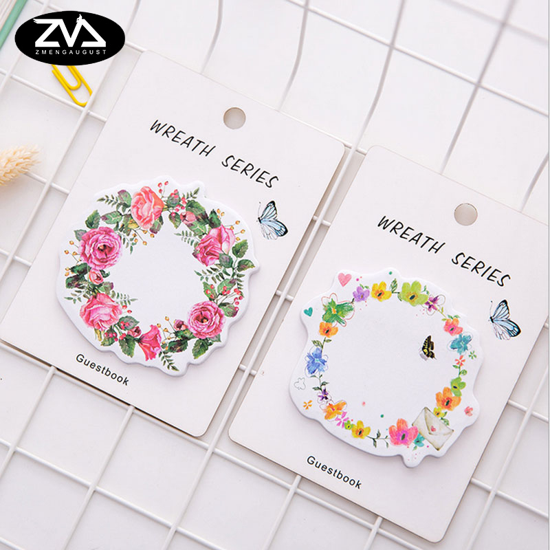 1X cute wreath post notes weekly plan Sticky Notes Post Memo Pad kawaii stationery School Supplies Planner Stickers Paper girly notebook stationery suit clips pens daily plan agenda sticky notes great value planner organizer set cute journals series