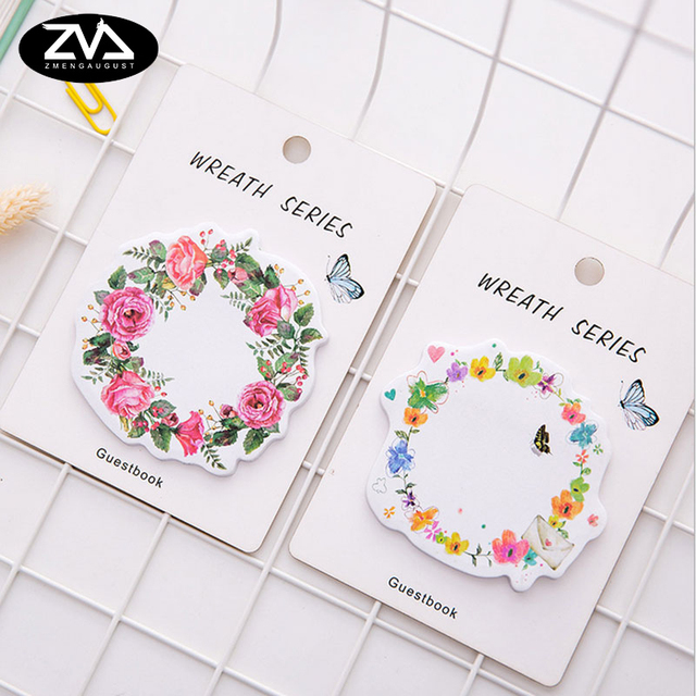 1X cute wreath post notes weekly plan Sticky Notes Post Memo Pad kawaii stationery School Supplies Planner Stickers Paper