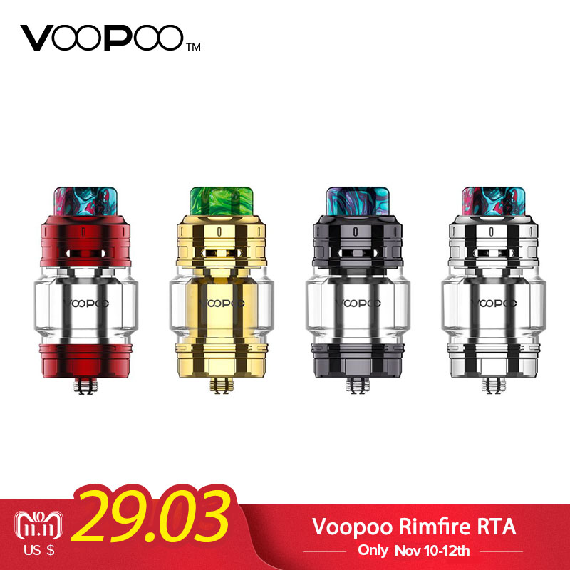 Original Voopoo Rimfire RTA 5ML Capacity 30mm Single/Dual Coil Rebuildable 810 Resin Drip Tip VS Geekvape Zeus Dual RTA Tank 1 2pcs about 4ml 5 5ml glass tube replacement for geekvape zeus 25mm single coil rta tank or geekvape zeus dual rta 26mm tank