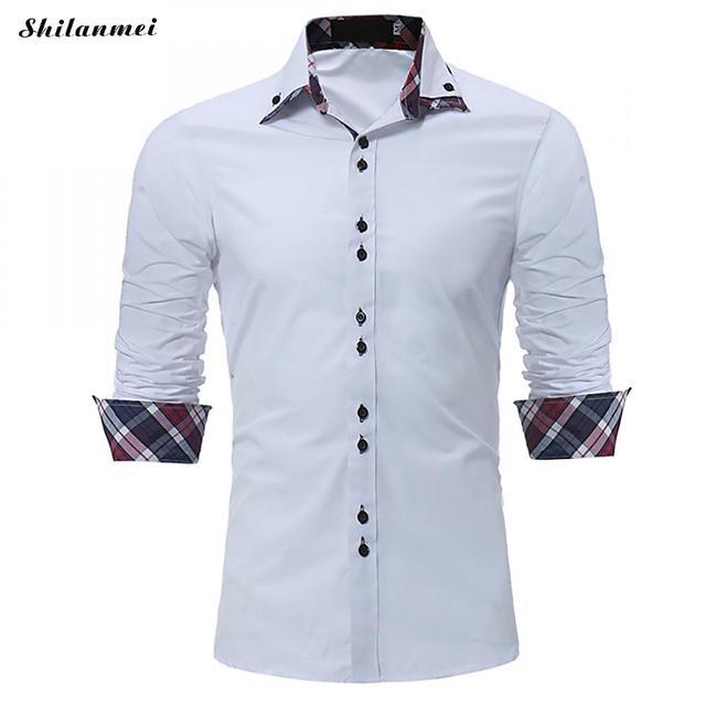 07c7c5e640 Primavera Masculino Camisa Social Branca Patchwork de Manga Longa Slim Fit  Camisas dos homens Azul Pago