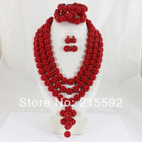 African Nigerian Wedding Red Coral Beads Jewelry Set Necklace Bracelet and Clip Earrings Wholesale Free Shipping CJ063