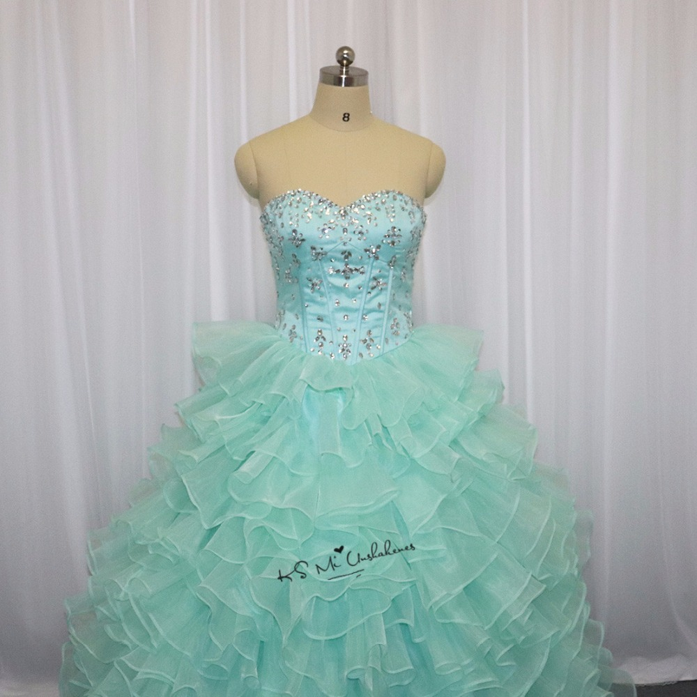 Us 14742 22 Offsweet 16 Ball Gowns Vestidos De Quince Anos 2018 Mint Green Quinceanera Dresses Cheap Puffy Debutantes Plus Size Prom Pageant In