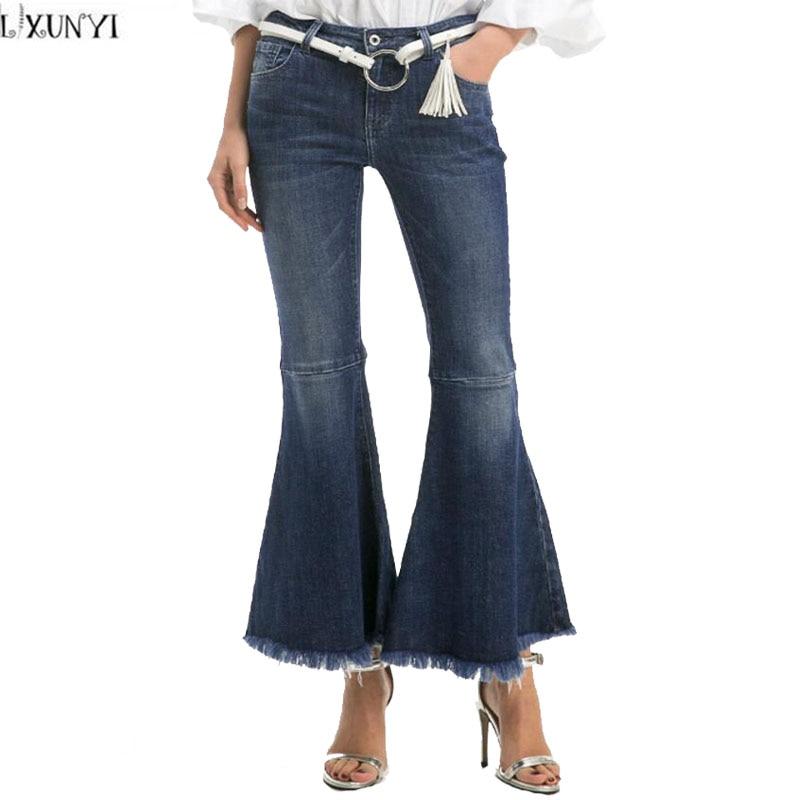 LXUNYI Flare Pants Women Autumn Personality Women's jeans With High Waist Slim Hip Wide leg Tassels Pants Denim Vintage Trousers