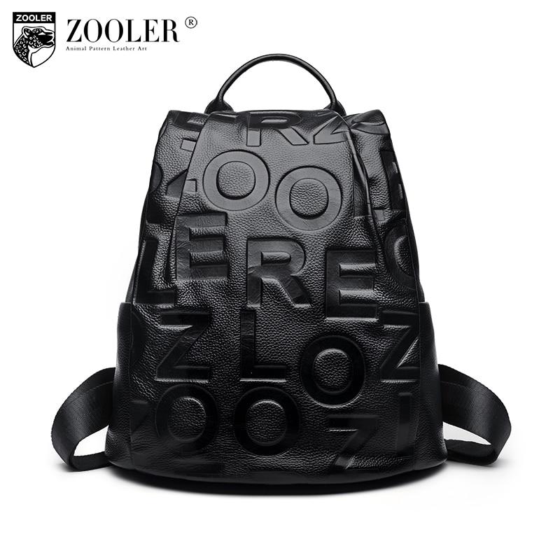 11-11 hot Zooler woman Leather backpacks 2018 pre listed embossed letter cowhide genuine backpacks top quality Bolsas#d120 tm070rdz50 11