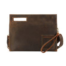 Office Bags for Men Werk Tas Mannen Male Bag Shoulder Portafolio Hard Clutch Work Handmade Thick Cowhide Genuine Leather