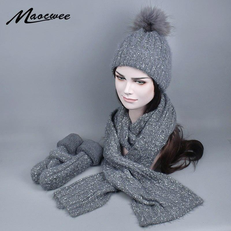 Femmes hiver chapeau et écharpe gants ensemble mode cachemire réel fourrure pompon casquette femme chaud tricoté chapeau écharpes