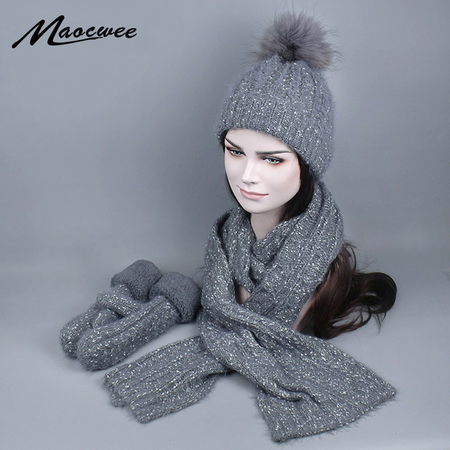 dad136ae2daa49 Women Winter Hat and Scarf Gloves Set Fashion Cashmere Real Fur Pompom Cap  Female Warm Knitted Hat Scarves