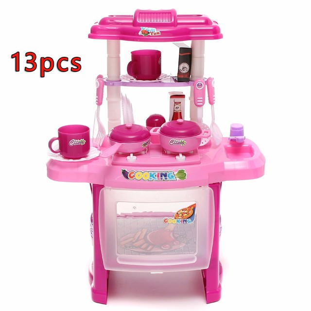Ordinaire DIY Handcraft Kid Kitchen Children Cooking Pretend Role Toy Play Set With  Lights Sound Electronic DIY