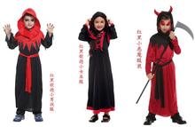 2019 New Kids Carnival Clothing Halloween Red And Black Goethe Witch Vampire Makeup Ball Children Cosplay Performs Dresses