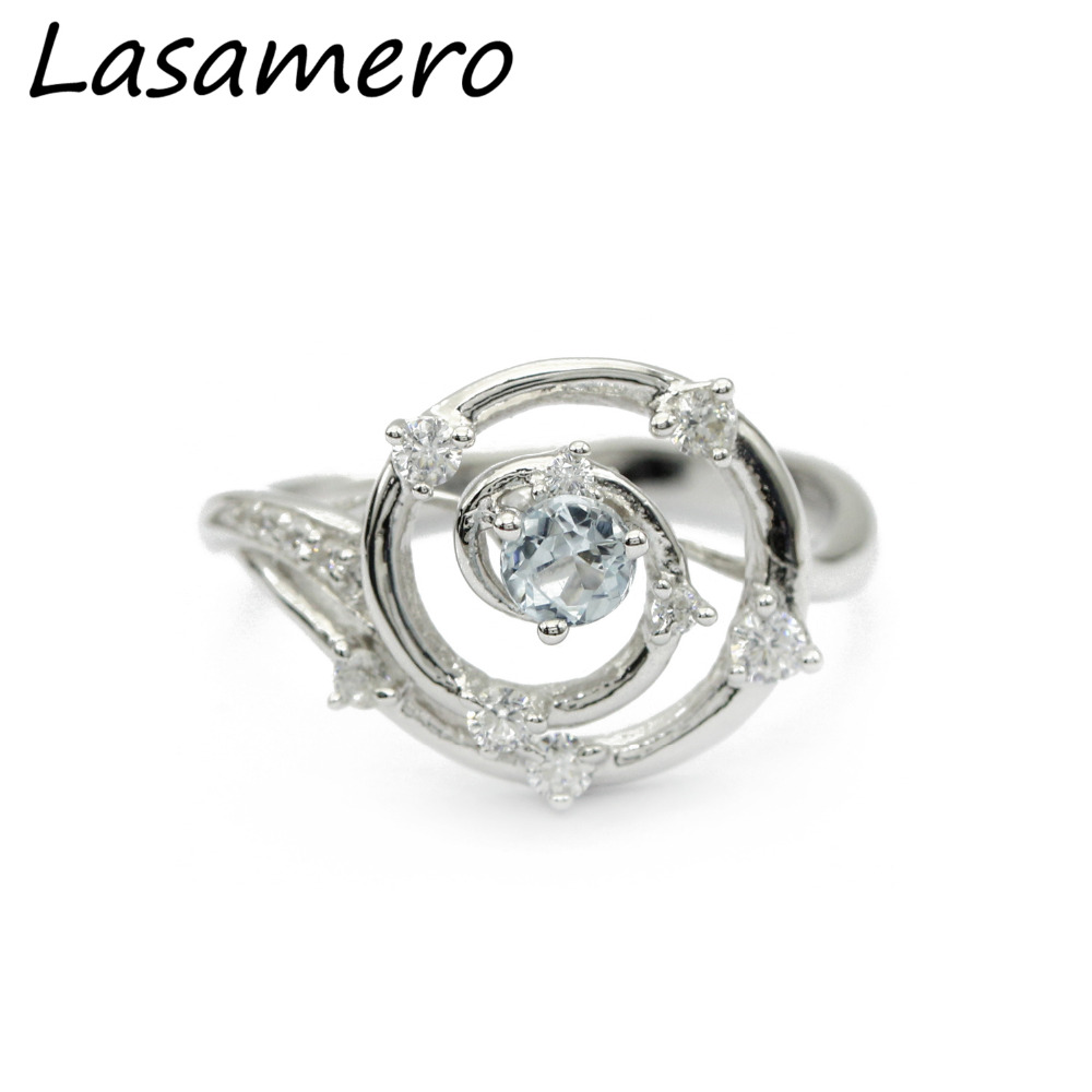 LASAMERO Natural Blue Topaz 925 Sterling Silver Ring Fine