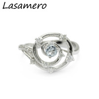 Center 1 Carat Brilliant Classic Engagement Ring ASCD Lab Grown Diamond Solid 9K Gold Diamond Flower