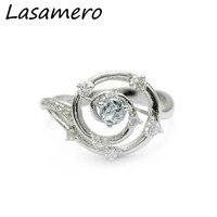 Center 1 Carat Brilliant Classic Engagement Ring ASCD Lab Grown Diamond Solid 9K Gold Diamond Flower