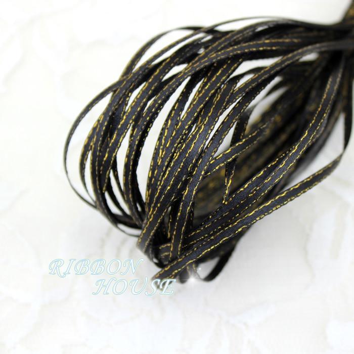 (20 м/лот) 1/8 »(3 мм) черный золотой край, атласные ленты оптовая продажа