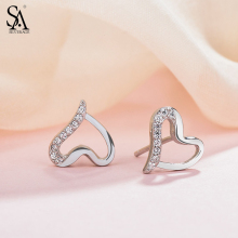 SA SILVERAGE Real 925 Sterling Silver Heart Stud Earrings for Women Fine Jewelry
