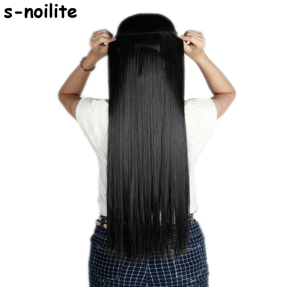 58 76CM Straight Women Clip in on Hair Extensions 3 4 Full One Piece Synthetic hair