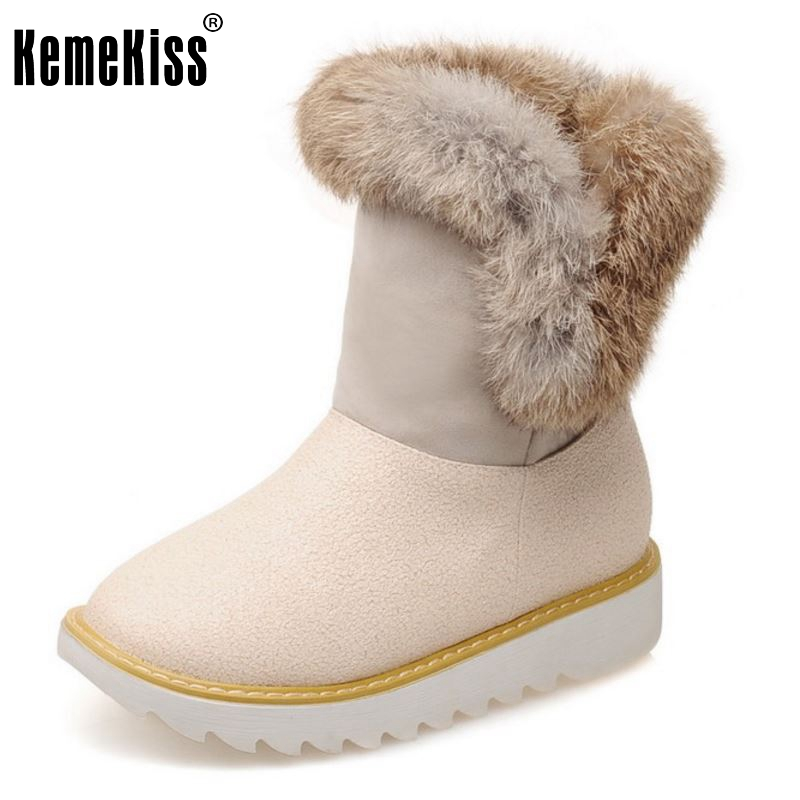 Gladiator Botas Women Platform Half Short Boot Fashion Warm Plush Winter Mid Calf Snow Boots Footwear Shoes Size 32-43