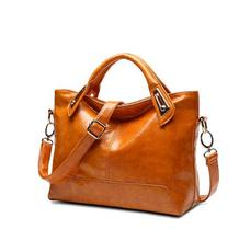 Women's shoulder bag 100% high quality leather handbag Ms oil wax inclined shoulder bag The large capacity hand bag