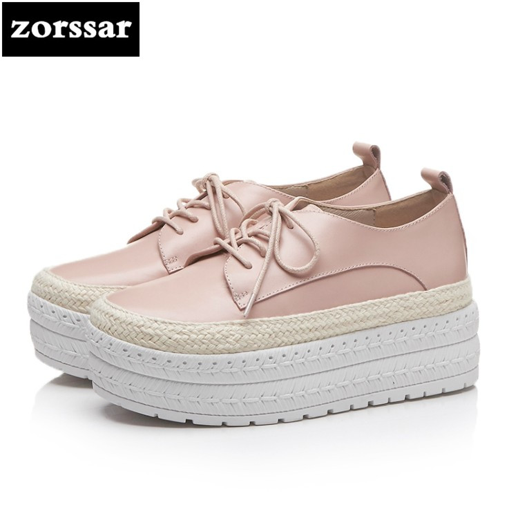 {Zorssar} 2018 women flats shoes platform sneakers shoes Genuine Leather casual shoes lace up flat Loafers women Creepers shoes zorssar 2018 new patent leather flats platform women shoes casual flat pointed toe shoes female sneakers shoes student shoes