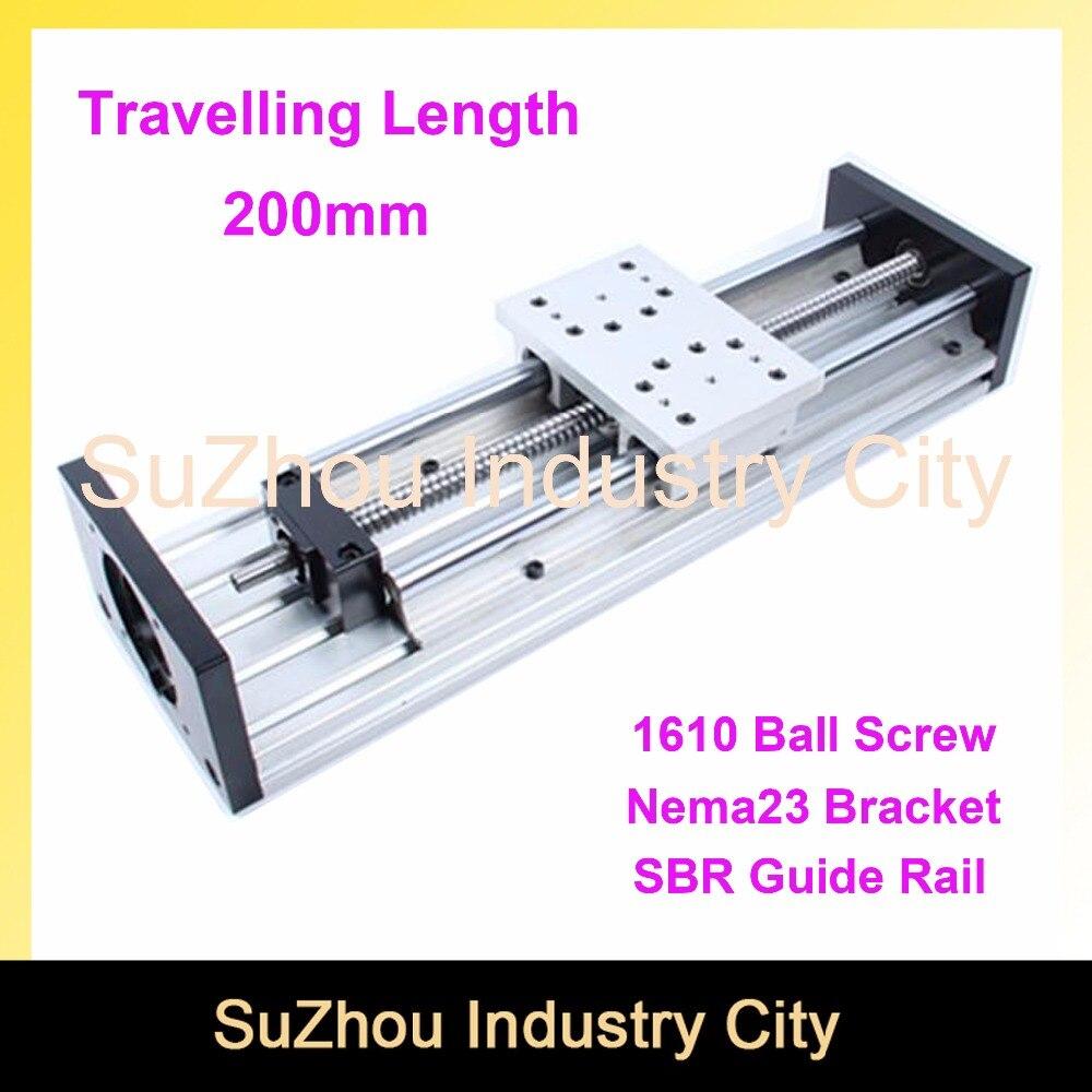 Travelling Length 200mm sliding table SBR20 Linear Guide Rail linear motion module Ball Screw 1610 эстамп travelling 8 шт