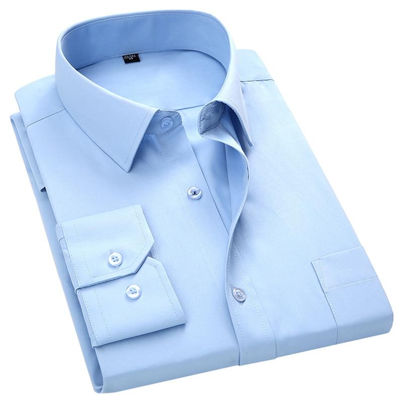 Plus Large Size 8XL 7XL 6XL 5XL Mens Business Casual Long Sleeved Shirt Classic White Black Dark Blue Male Social Dress Shirts 12