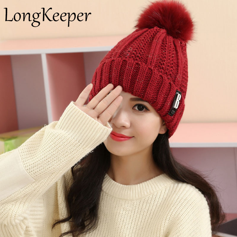 2017 Women Spring Winter Hats Beanies Knitted Cap Crochet Hat Rabbit Fur Pompons Ear Protect Casual Cap Chapeu Feminino winter women beanies pompons hats warm baggy casual crochet cap knitted hat with patch wool hat capcasquette gorros de lana