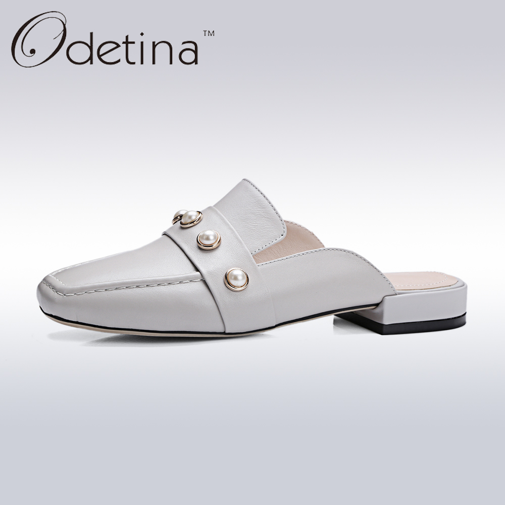 Odetina 2017 Brand Genuine Leather Fashion Women Summer Slingback Shoes Low Heel Pearls Ladies Square Toe Half Slippers Mules аксессуары для йоги yoga era 00803 iyengar