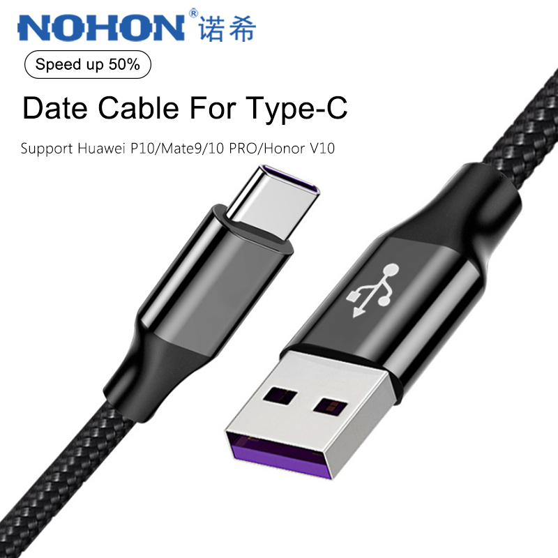 NOHON 5A USB Type C <font><b>Cable</b></font> Fast Charging Cord For Huawei P10 P20 Mate 9 Pro Mi6 Phone <font><b>Charger</b></font> Data Sync <font><b>Cables</b></font> For <font><b>SamSung</b></font> S8 <font><b>S9</b></font> image