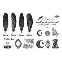 Перья крылья боди арт тату наклейки Английский алфавит Луна шаблон Водонепроницаемый татуировки кожи метки 14,5*9,5 см
