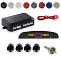Electromagnetic Parktronic Car Parking Sensor System With 4 Radar Sensors LED Display Buzzer Car-detector Silver Black Color
