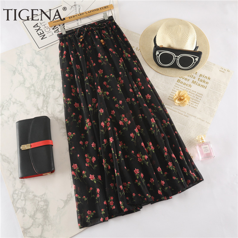 TIGENA Floral Print Long Maxi Skirt Women Fashion 2019 Summer High Waist Pleated Skirt Female Boho Holiday Chiffon Skirt Sun