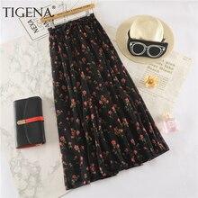 TIGENA Floral Print Long Maxi Skirt Women Fashion 2019 Summer High Waist Pleated