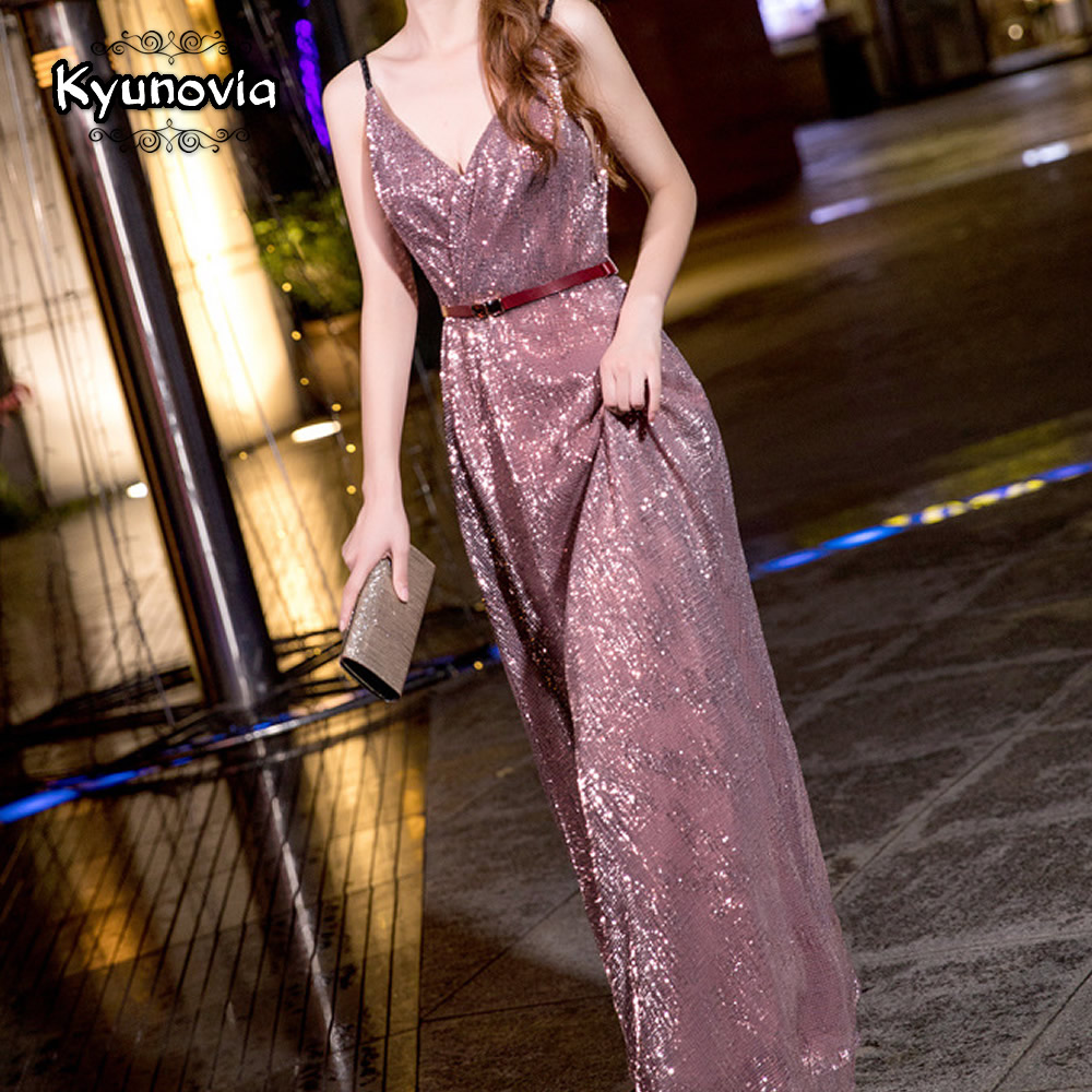 Kyunovia Sexy Straight   Evening     Dress   The Banquet Open Back Long V-neck   Evening     Dresses   Party Sequin Sparkly Prom Gowns E01