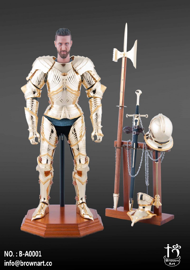 Brown Art 1/6 Medieval Knight with Metal Gothic Armour