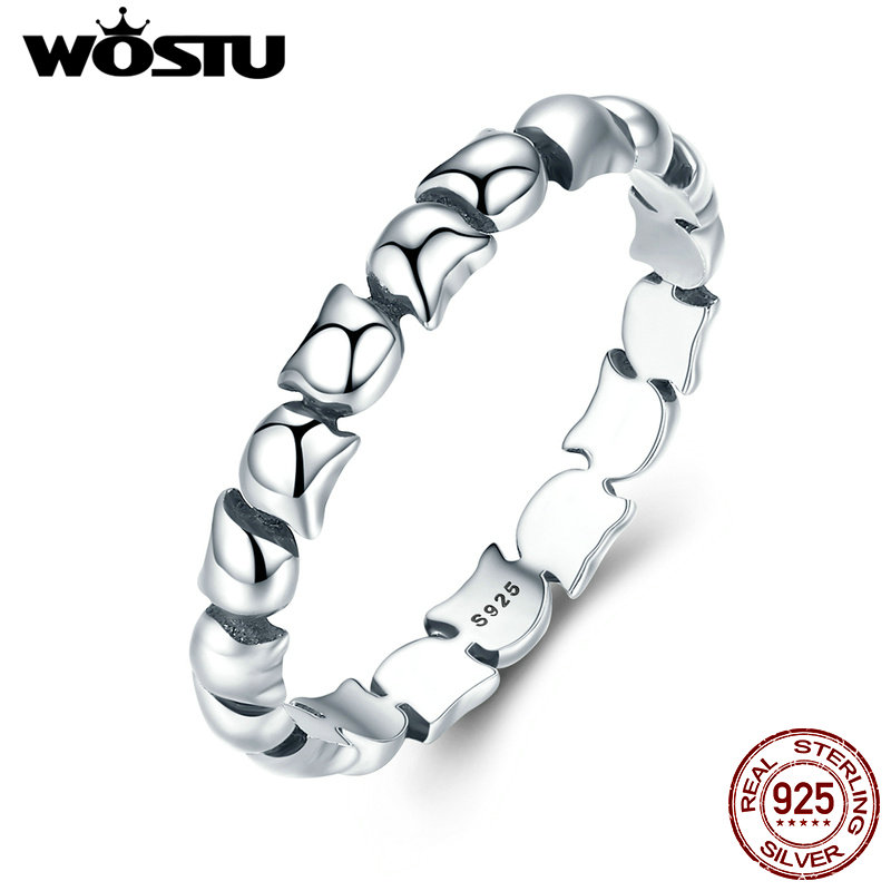WOSTU High Quality Real 925 Sterling Silver Lovely Cat Stackable Party Rings For Women Fine Jewelry CQR047