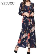Seluxu 2019 New Summer Dress For Women V-Neck Long Boho Chiffon Party Beach Single-breasted